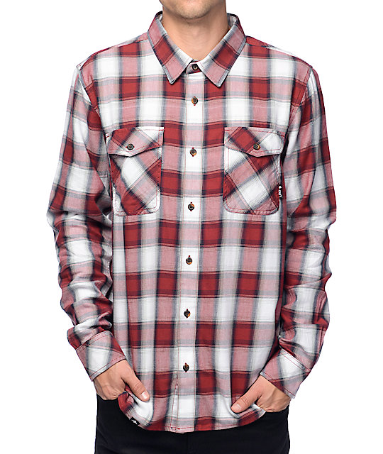 Lrg syndicate poplin white red long sleeve button up shirt for Cool long sleeve button up shirts