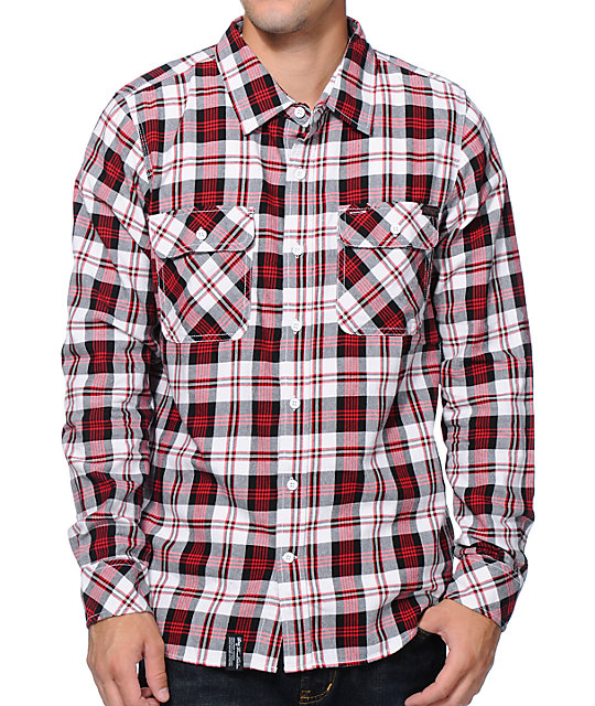 Made from a % organic cotton flannel fabric, this men's shirt features an allover plaid pattern in red, blue and grey. It has long sleeves and a collared neckline. Subtle grey accent stitching lines all of the seams and hem and the front features navy buttons.