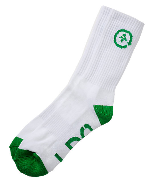 LRG White & Green Crew Socks