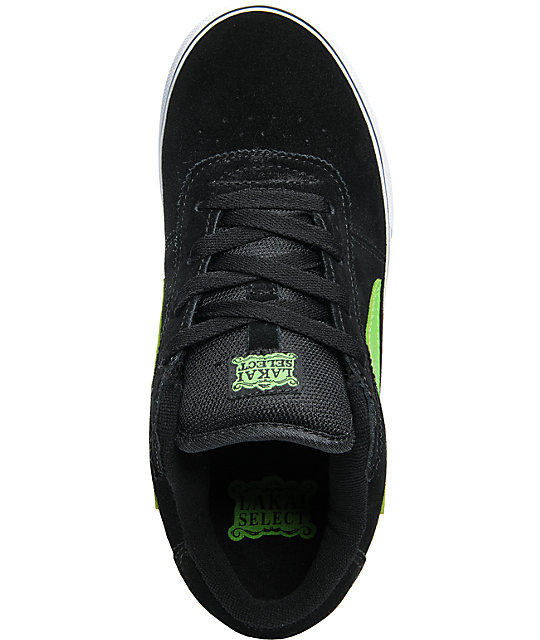 Lakai Boys Manchester Select Black & Lime Suede Skate Shoes