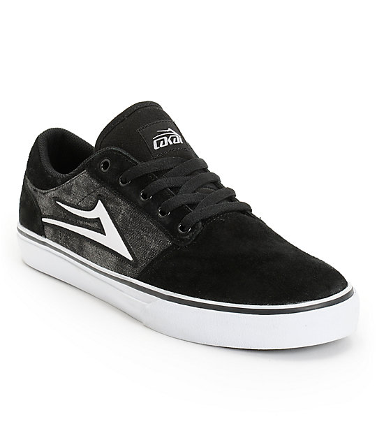 Lakai Brea Black & Acid Suede Skate Shoes