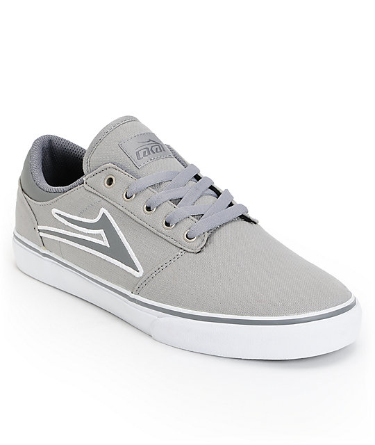 Lakai Brea Light Grey & White Canvas Skate Shoes