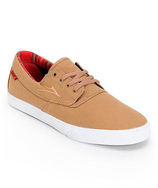 Lakai Camby Caramel & Plaid Canvas Skate Shoes