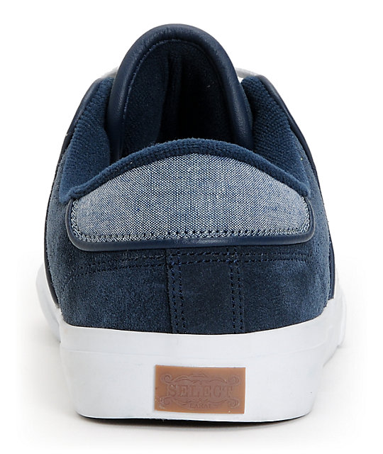 Lakai Carlo Navy & Chambray Low Top Skate Shoes