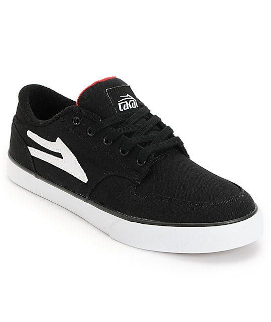 Lakai Carroll 5 Black & Red Canvas Skate Shoes