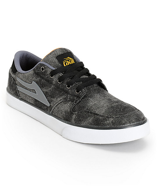 Lakai Carroll 5 Black Acid & Mustard Canvas Skate Shoes