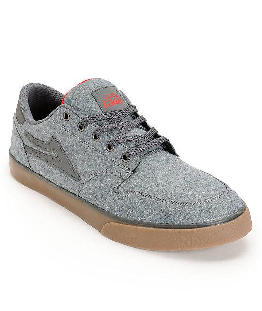 Lakai Carroll 5 Blue Chambray & Gum Skate Shoes
