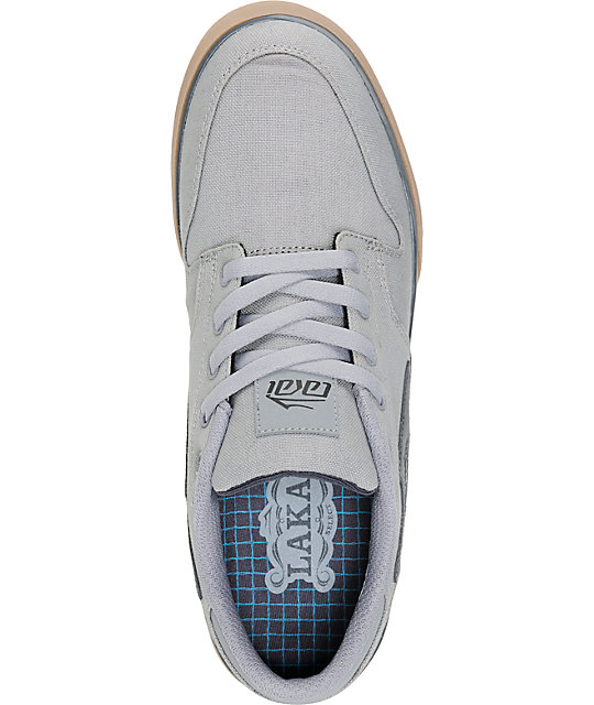 Lakai Carroll 5 Light Grey & Gum Canvas Skate Shoes