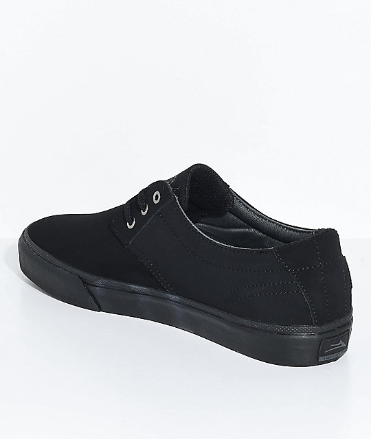 Lakai Daly All Black Nubuck Skate Shoes