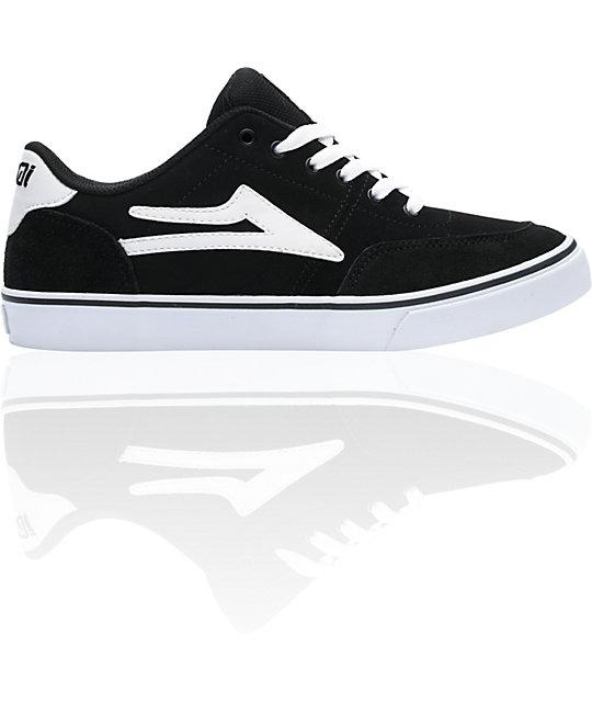 Lakai Encino Black & White Suede Skate Shoes