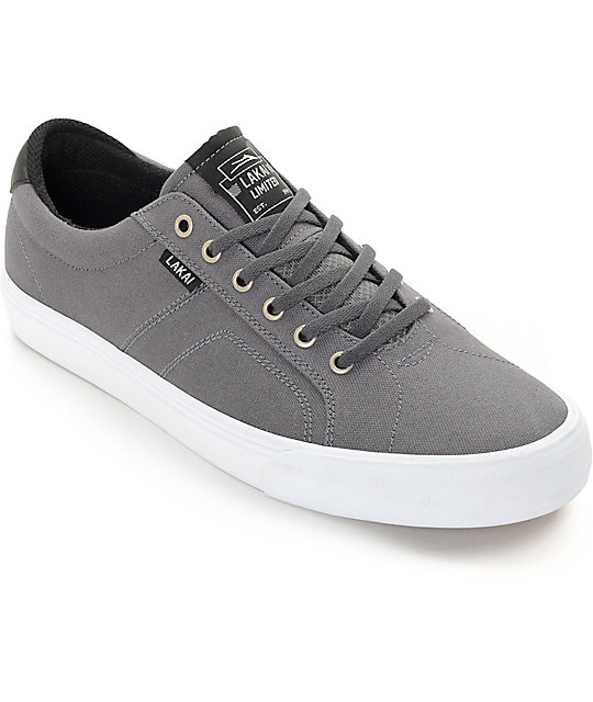 Lakai Flaco Grey & White Canvas Skate Shoes