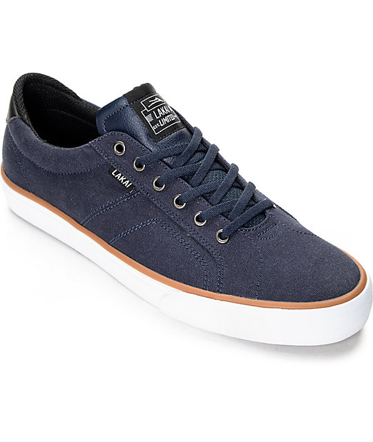 Lakai Flaco Navy & White Canvas Skate Shoes