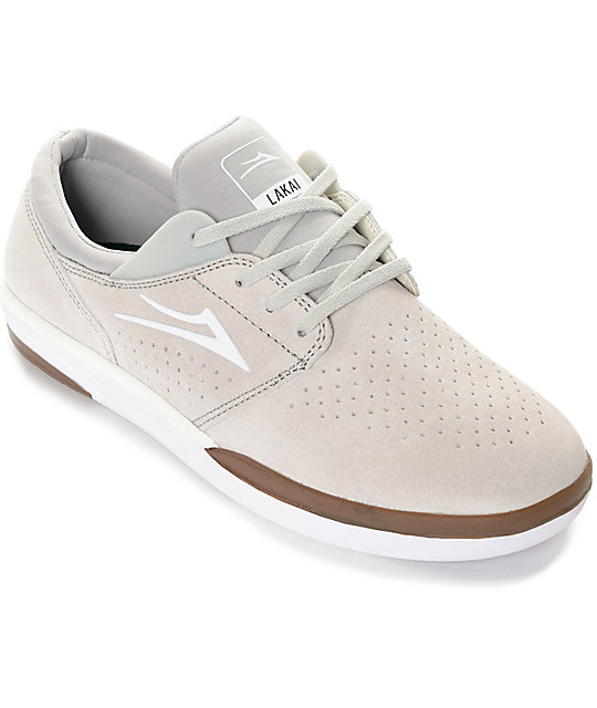 Lakai Fremont Off White & Gum Suede Skate Shoes