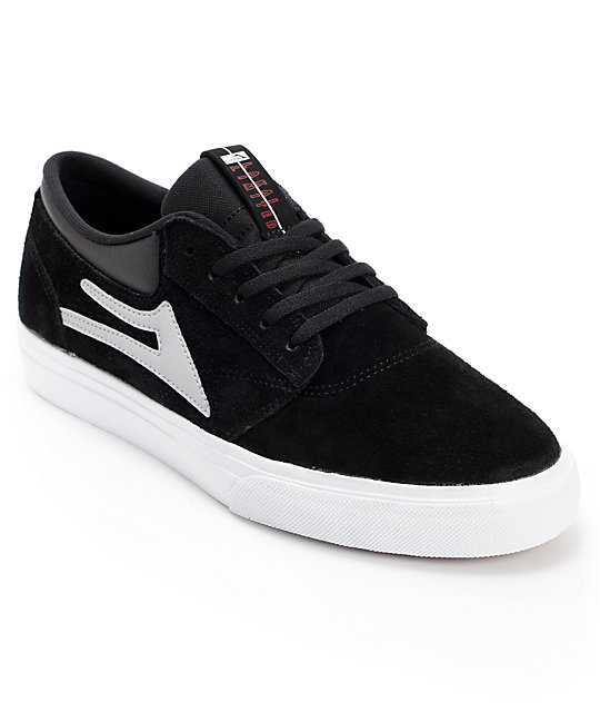 Lakai Griffin Black & White Suede Skate Shoes
