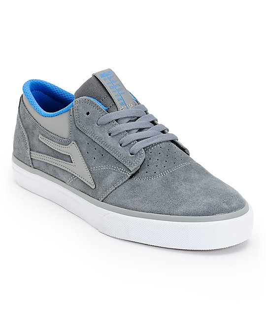Lakai Griffin LT Grey & Blue Suede Skate Shoes