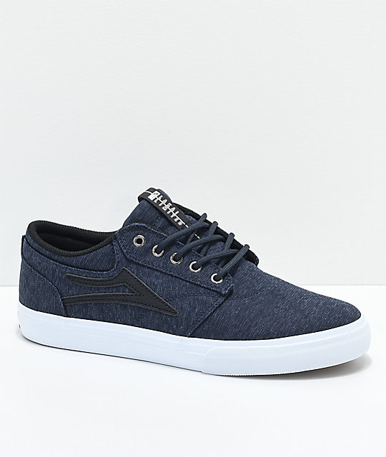 Lakai Griffin Midnight & White Jersey Textile Skate Shoes