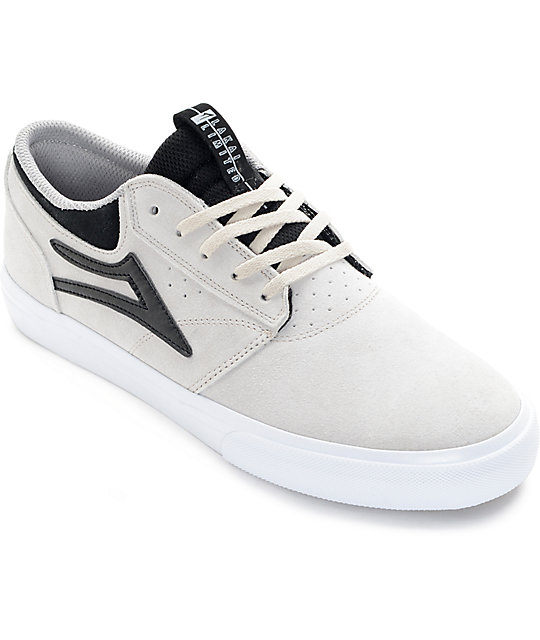 Lakai Griffin White & Black Suede Skate Shoes