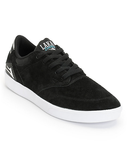 Lakai Guy Black & White Suede Skate Shoes