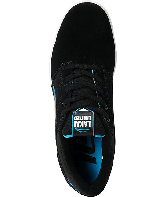 Lakai Linden Black & Blue Suede Skate Shoes