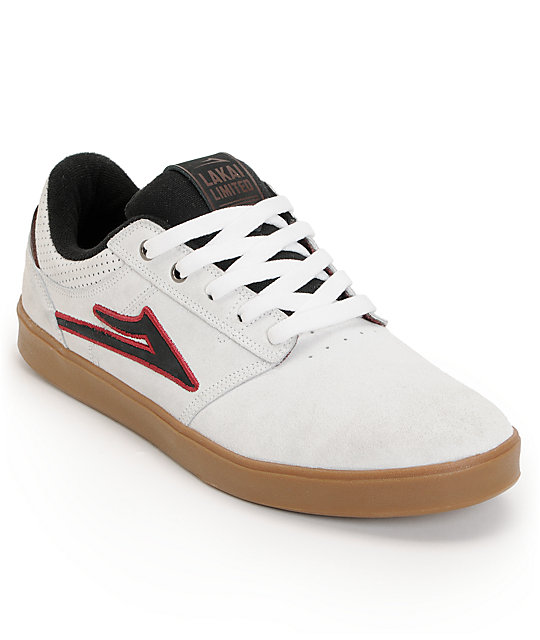 Lakai Linden White & Gum Suede Skate Shoes