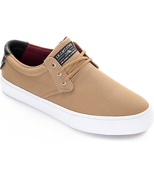 Lakai MJ Wheat Herringbone & White Skate Shoes