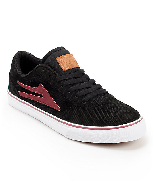 Lakai Manchester Black & Maroon Suede Skate Shoes