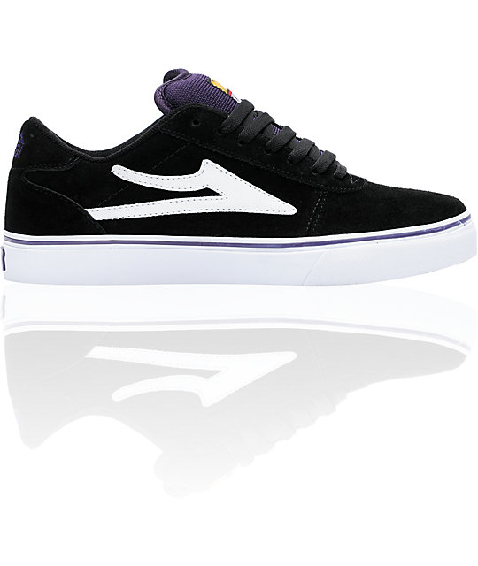 Lakai Manchester Select Black & Purple Suede Skate Shoes