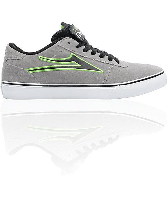 Lakai Manchester Select Grey & Lime Green Skate Shoes
