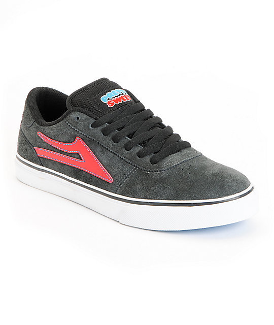 Lakai Manchester Select Pretty Sweet Grey & Red Suede Skate Shoes