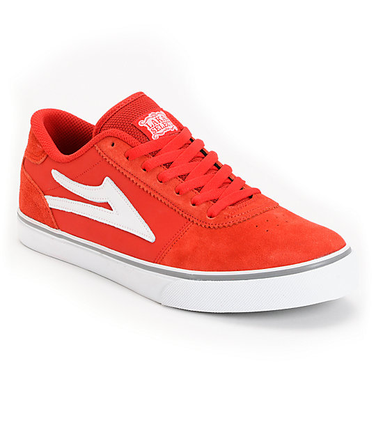 Lakai Manchester Select Red & White Suede Skate Shoes