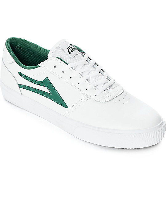 Lakai Manchester White & Green Leather Skate Shoes