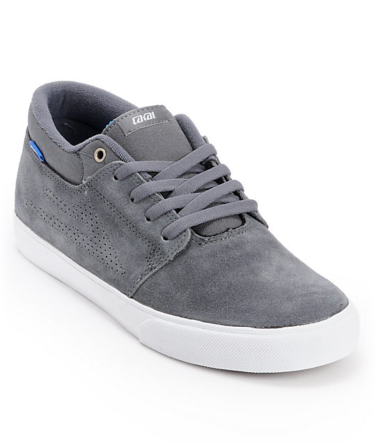 Lakai Marc Castlerock Grey & White Suede Skate Shoes