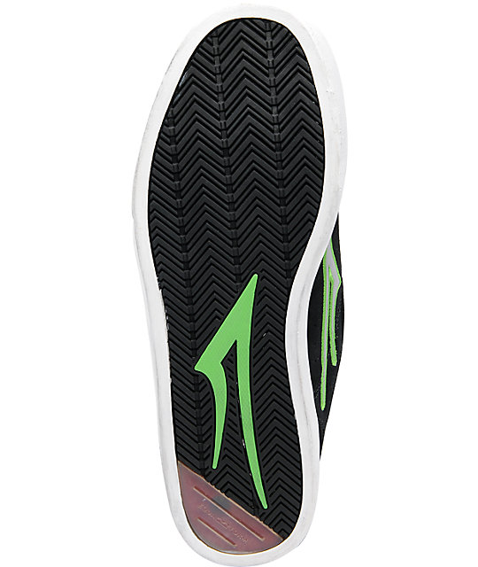 Lakai Mike Mo Black & Lime Green Suede Skate Shoes