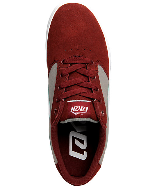 Lakai Pico Burgundy & Grey Suede Shoes