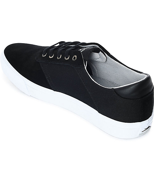 Lakai Porter Black & White Suede Skate Shoes