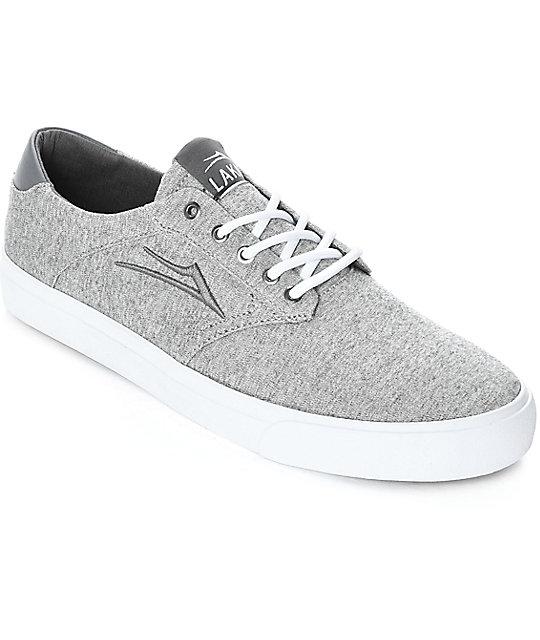 Lakai Porter Grey & White Textile Skate Shoes