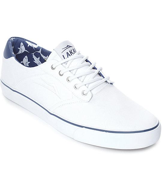 Lakai Porter White & Navy Shark Print Canvas Skate Shoes
