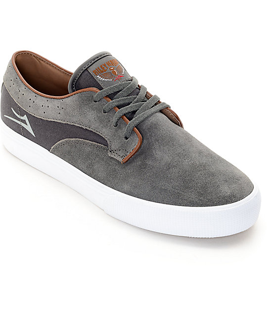 Lakai Riley Hawk Charcoal Suede Skate Shoes