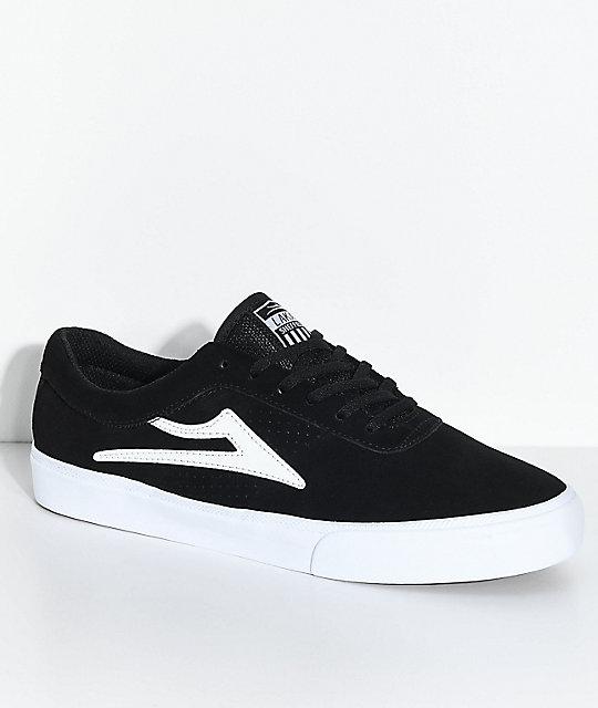 Lakai Sheffield Black & White Suede Skate Shoes