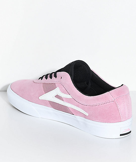 Lakai Sheffield Pink & White Suede Skate Shoes
