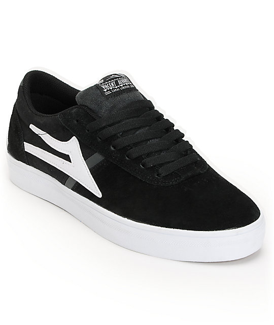 Lakai Vincent Black & White Suede Skate Shoes