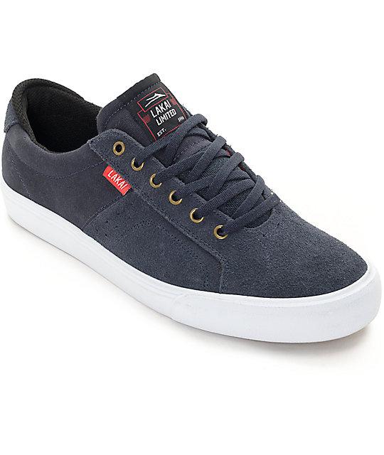 Lakai x Chocolate Flaco Navy & White Canvas Skate Shoes
