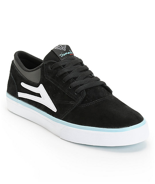 Lakai x Diamond Supply Griffin Black & White Suede Skate Shoes