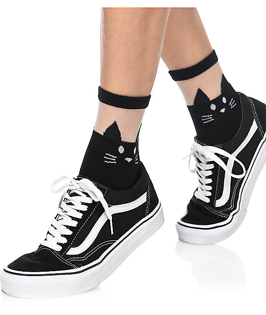 Leg Avenue Black Cat Sheer Anklet Socks