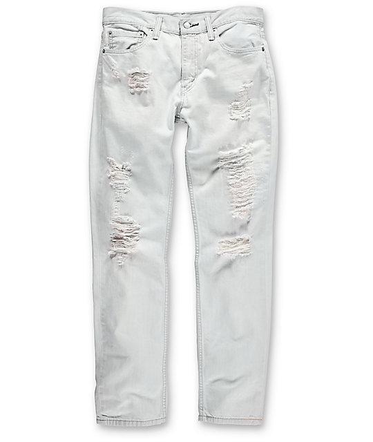 Levi Thrashed 511 White Ripped Slim Denim Jeans - Thrashed 511 White Ripped Slim Denim Jeans