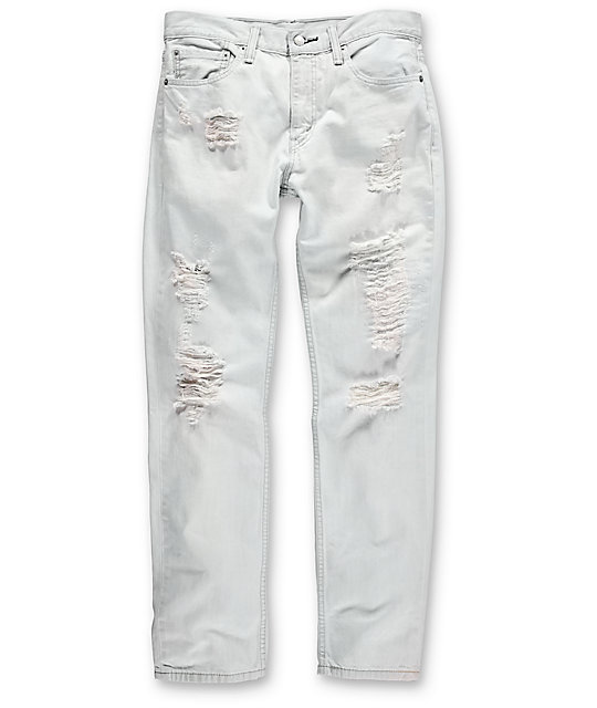 Thrashed 511 White Ripped Slim Denim Jeans