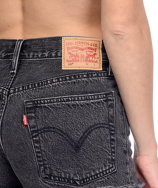 Levi's 501 Black Wash Fray Hem Shorts