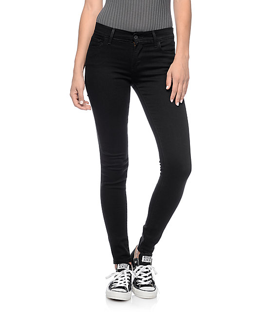 levi 39 s 710 black echo mid super skinny jeans zumiez. Black Bedroom Furniture Sets. Home Design Ideas