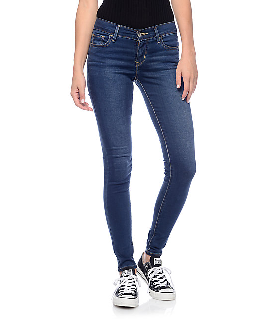 levi 39 s 710 dark blue mid super skinny jeans zumiez. Black Bedroom Furniture Sets. Home Design Ideas