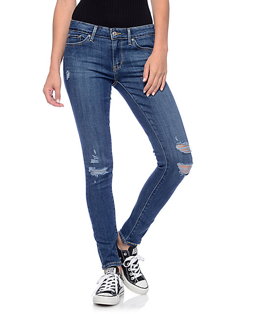 levi 39 s 711 dark destroyed mid skinny jeans zumiez. Black Bedroom Furniture Sets. Home Design Ideas